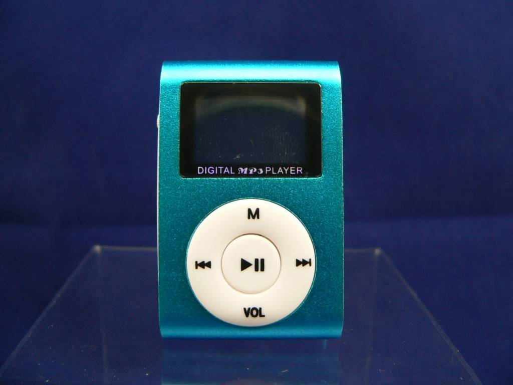 Metall-MP3-Player mit LCD-Display in Türkis