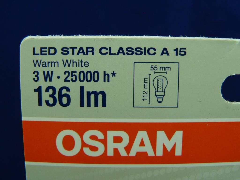 LED-Lampe von Osram in Birnen-/Tropfenform, 3W, E27, 220V, 136lm, Warmweiß, LED Star Classic A 15