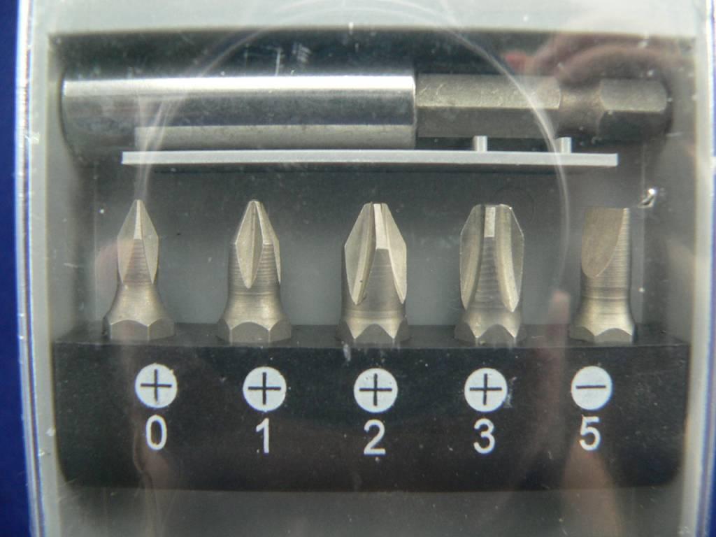 16tlg. Bitset/Bitsatz/Bitbox/Bithalter Kreuz, Schlitz und Innensechskant mit Bitmagnethalter