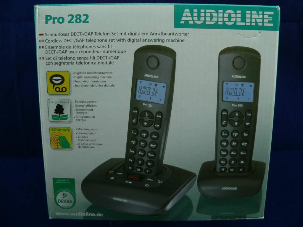 Audioline Pro 282 DUO schwarz, reduzierte Strahlung, digitaler Anrufbeantworter