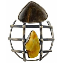 Pendant of Baltic amber and rutile quarz