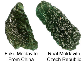 Fake and real moldavite