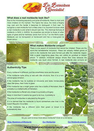 Recognise fake moldavite info sheet