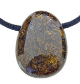 Beautiful bronzite pendant drilled with cord