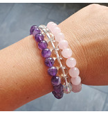 Gold triangle bracelets, amethyst, rose quartz and rock crystal