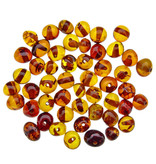 50 pieces amber beads cognac rounded 5-6 mm