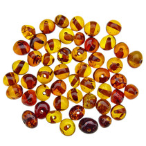 Amber beads rounded cognac