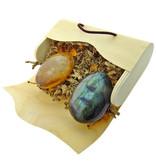 Labradorite and golden healer hand stones in an envelope box