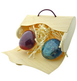 Carnelian and apatite handstones in an envelope box