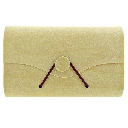 Versteend hout en groene opaal handstenen in een envelop doosje