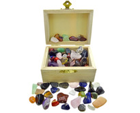 Treasure chest filled with tumbled stones mix