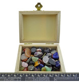 Well-filled treasure box with a mix of mini tumbled stones