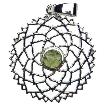 Beautiful pendant of silver with moldavite