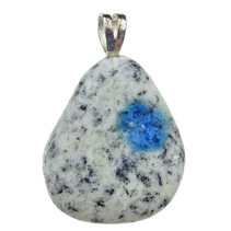 Pendant of K2 azurite with silver eye