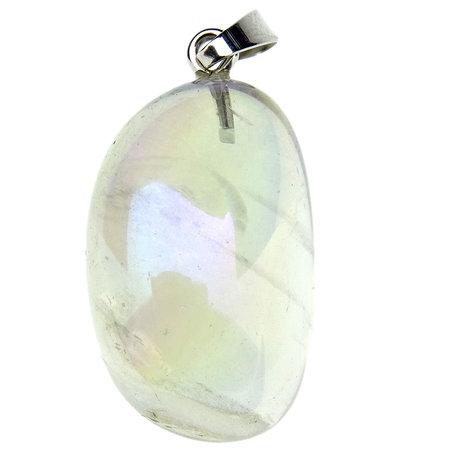 Angel aura pendant, gold treated quartz crystal