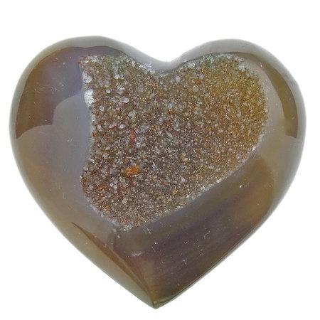 Mooi hart van agaat met kwartskristallen uit Brazilië