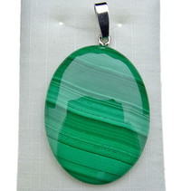 Malachite pendant with silver eye
