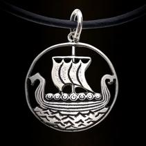 Zilveren hanger viking schip