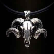 Zilveren hanger ram skull