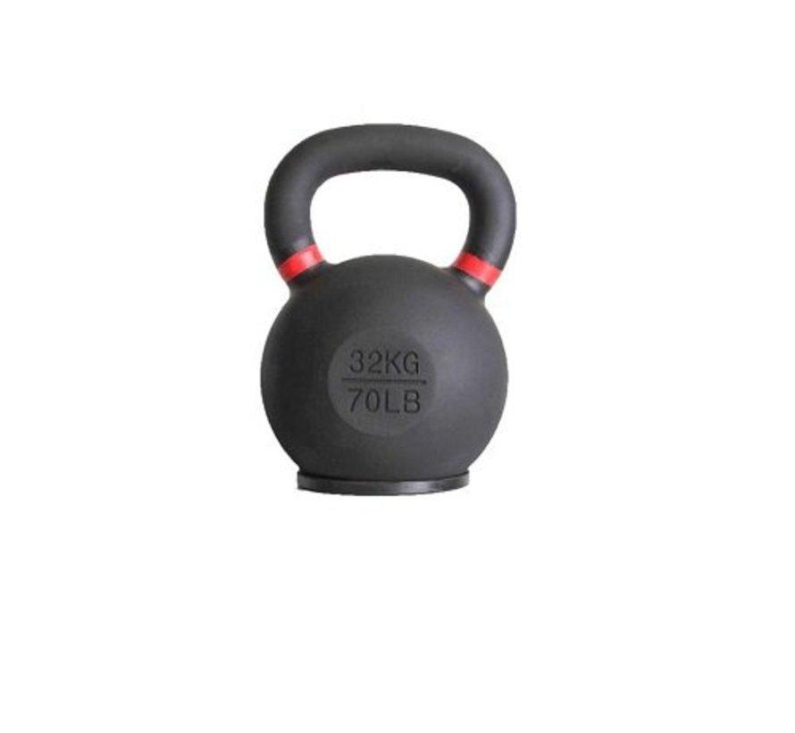 32kg kettlebell met gekleurde ring en rubberen voet