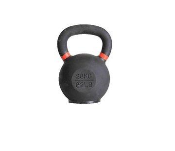 Fitribution 28kg kettlebell met gekleurde ring en rubberen voet