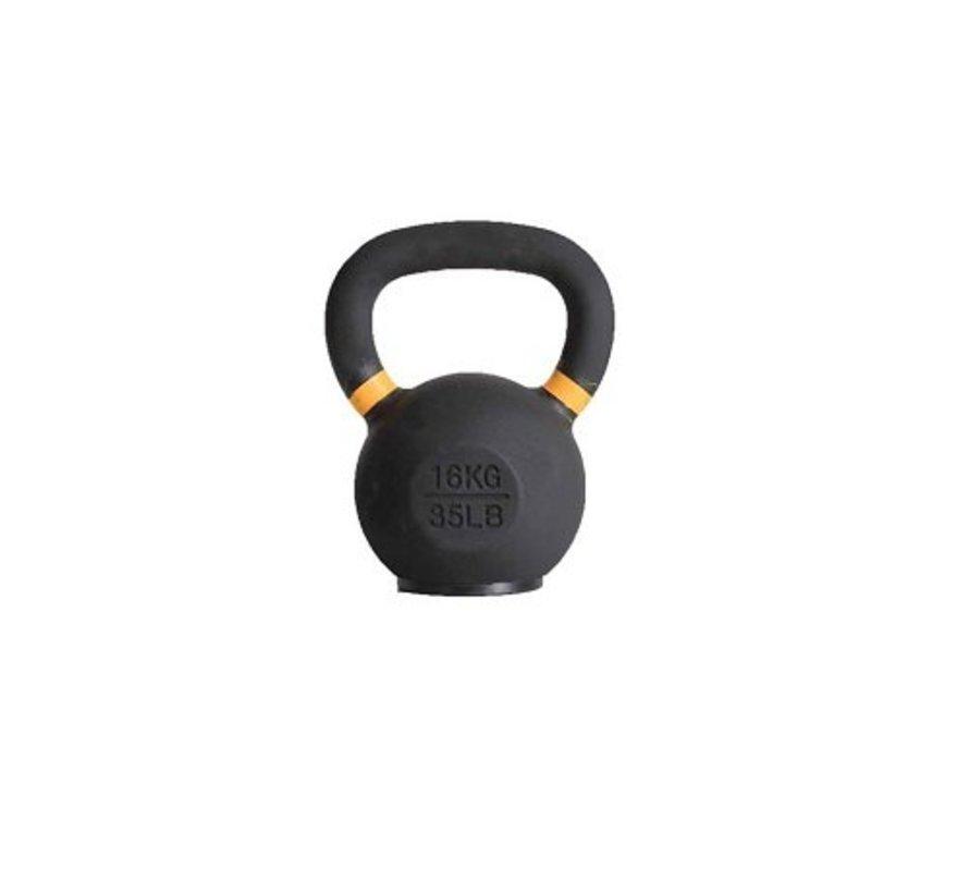 16kg kettlebell met gekleurde ring en rubberen voet