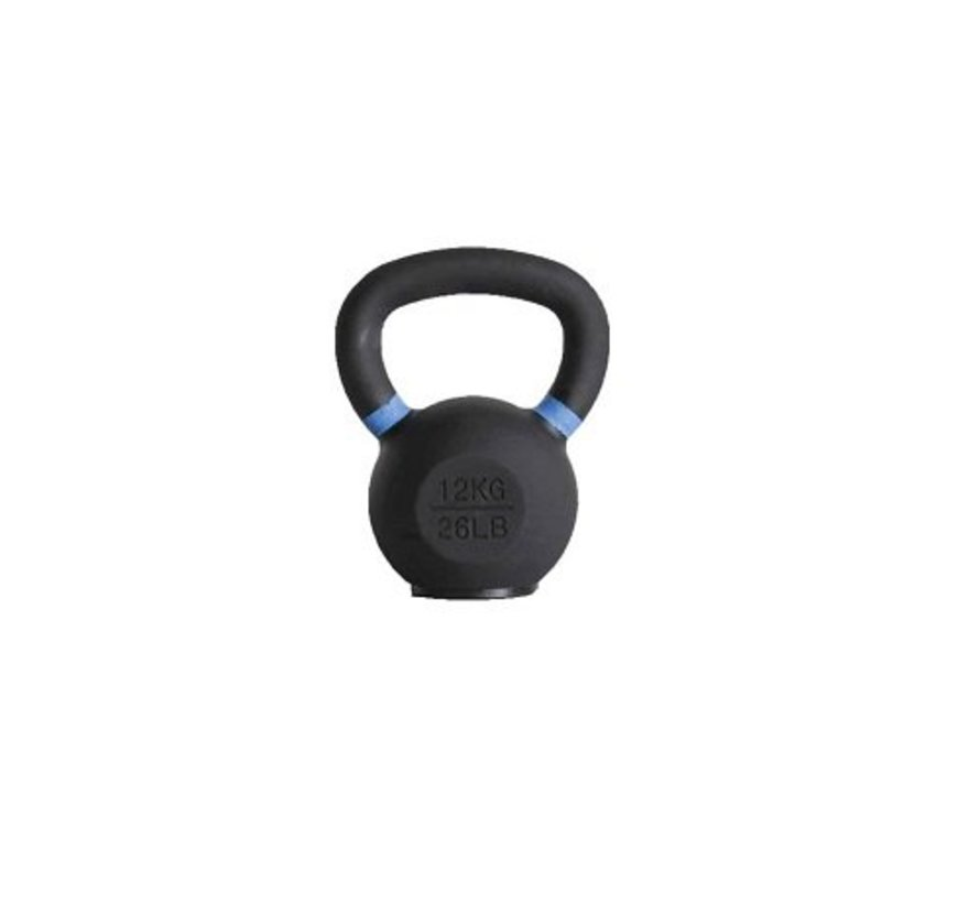 12kg kettlebell met gekleurde ring en rubberen voet
