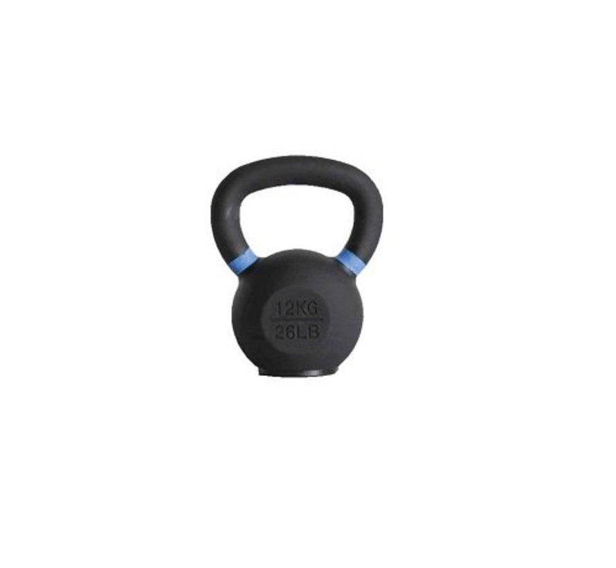 12kg kettlebell met gekleurde ring met/zonder rubberen voet