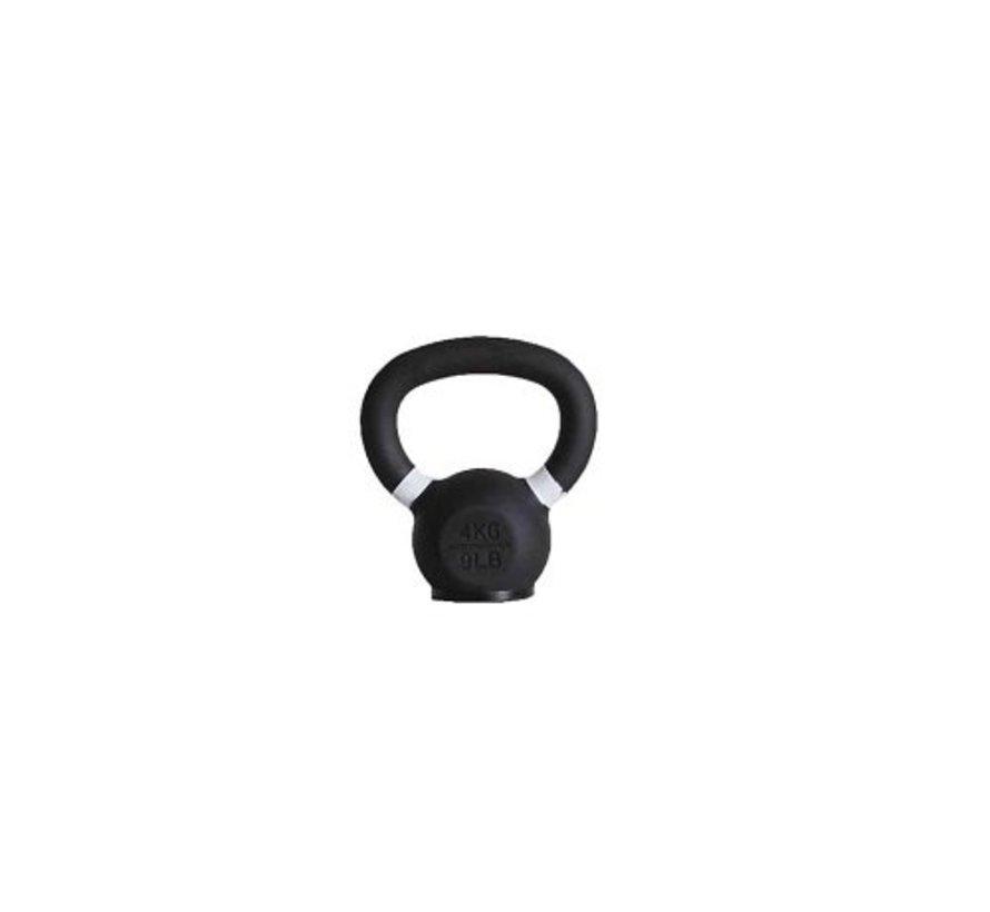 4kg kettlebell met gekleurde ring en rubberen voet