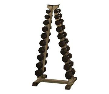 Fitribution Hex rubber dumbbell set 1 - 10kg plus rack