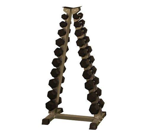 Fitribution Hex rubber dumbbell set 1 - 10kg plus halterrek