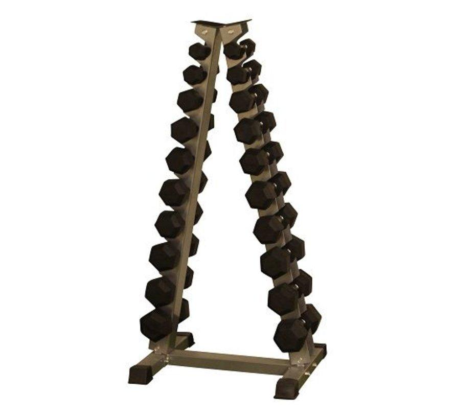 Hex rubber dumbbell set 1 - 10kg plus halterrek