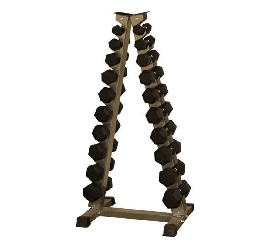 Hex rubber dumbbell set 1 - 10kg plus rack