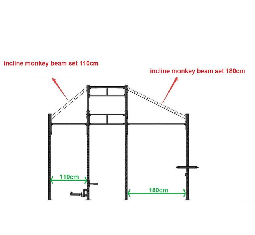 Incline monkey beam set 180cm muurbevestiging