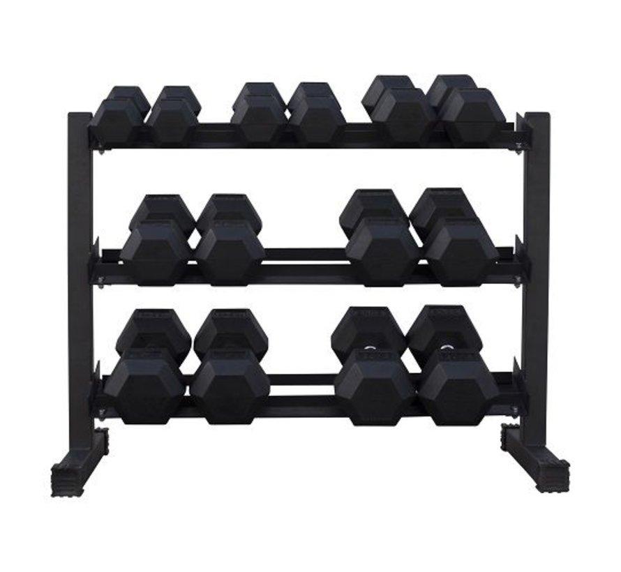 Haltères Hexagonaux caoutchouc 5-20kg 7 paires + rack
