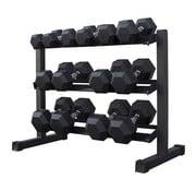 Fitribution Hex rubber dumbbell set 5 - 20kg 7 pairs + rack