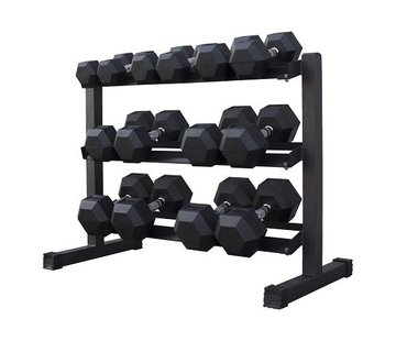 Fitribution Hex rubber dumbbell set 5 - 20kg 7 paar + rek