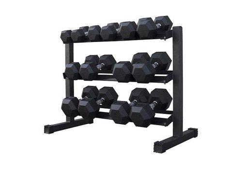 Hex rubber dumbbell set 5 - 20kg 7 pairs + rack