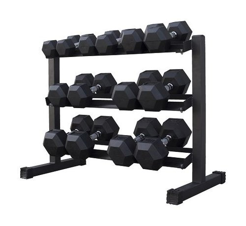 Fitribution Haltères Hexagonaux caoutchouc 5-20kg 7 paires + rack