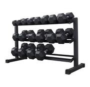 Fitribution Hex rubber dumbbell set 5 - 25kg 9 paar + rek