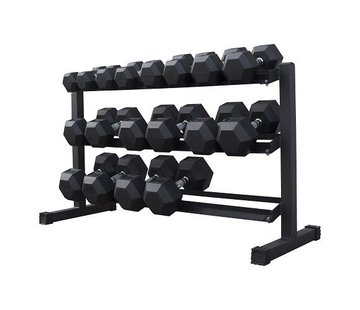 Fitribution Hex rubber dumbbell set 5 - 25kg 9 pairs + rack