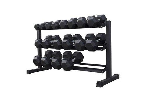 Hex rubber dumbbell set 5 - 25kg 9 paar + rek