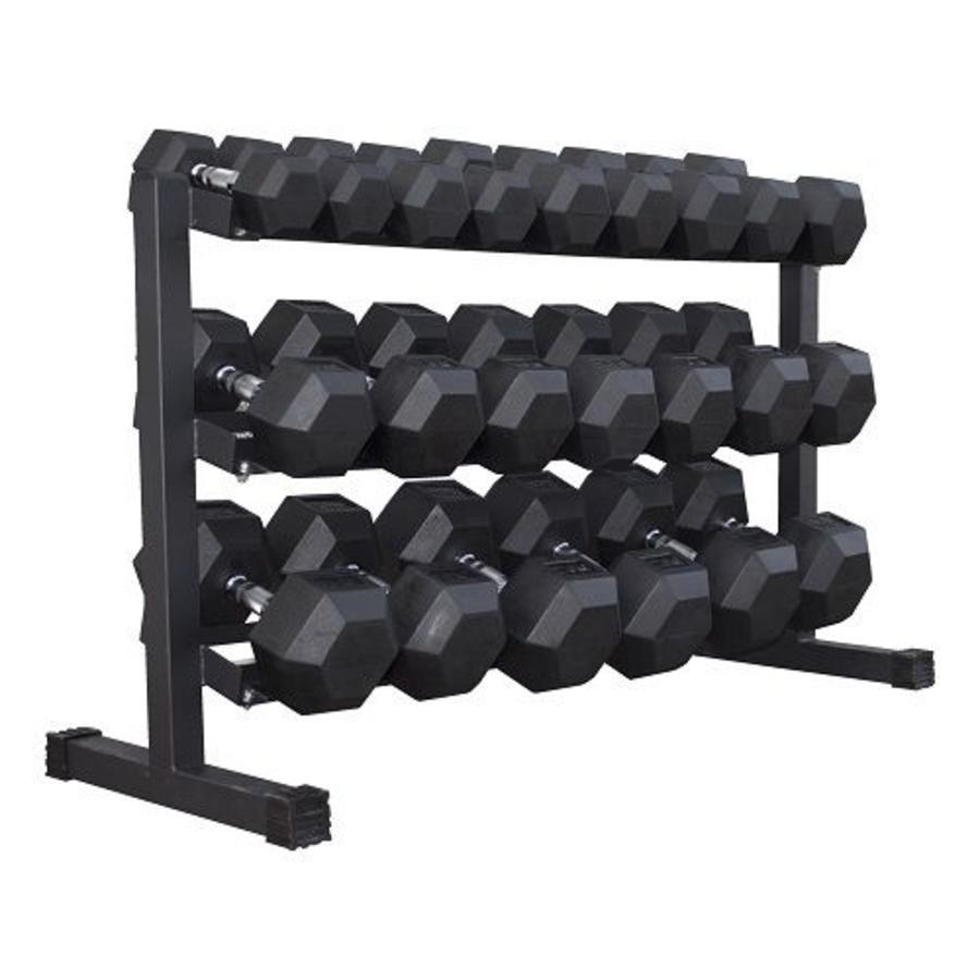 Hex rubber dumbbell set 5 - 30kg 11 paar + rek