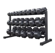 Fitribution Hex rubber dumbbell set 5 - 30kg 11 pairs + rack