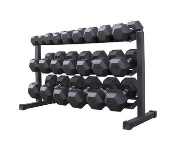 Fitribution Hex rubber dumbbell set 5 - 30kg 11 paar + rek