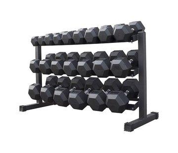 Fitribution Hex rubber dumbbell set 5 - 30kg 11 pairs + rack