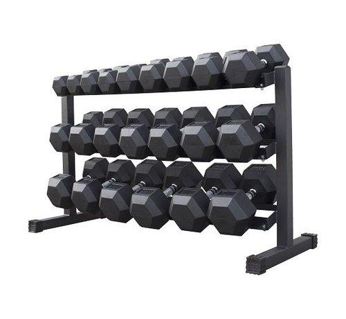 Fitribution Haltères Hexagonaux caoutchouc 5-30kg 11 paires + rack