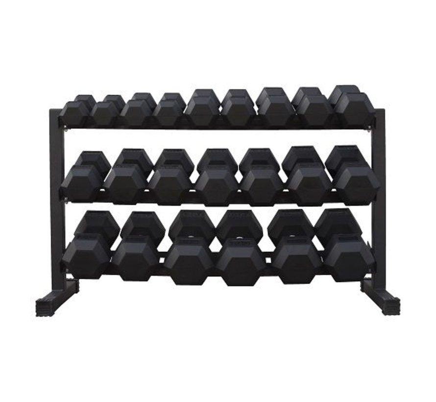Haltères Hexagonaux caoutchouc 5-30kg 11 paires + rack