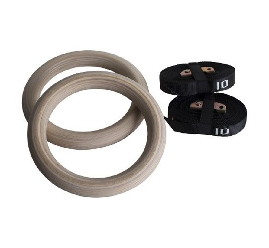 Wooden gym rings with numbered straps