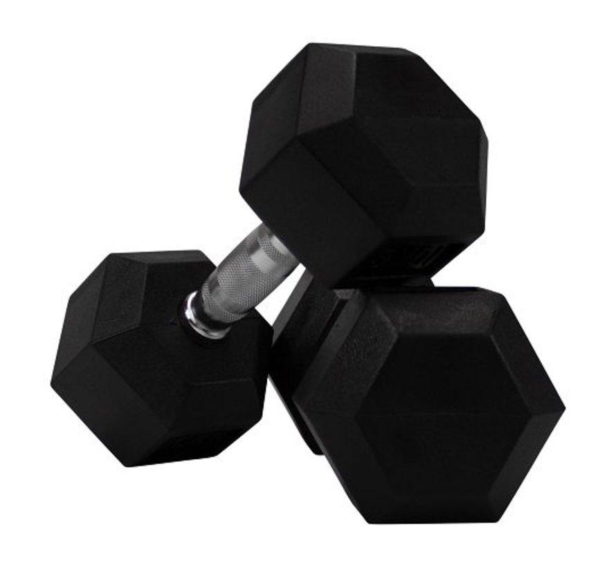 Hex rubber dumbbell set 12 - 40kg 15 paar
